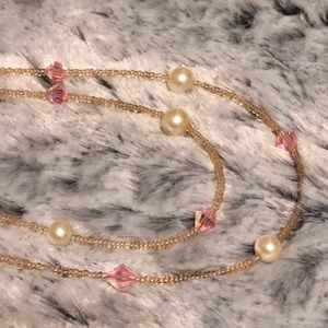 🔥😍 Gorgeous Pearl Crystal Pink Bead Necklace 46""